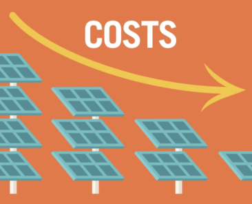 solar filed illustration with low cost arrow